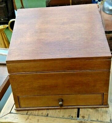 Early C20th Oak Stationary Box with Draw