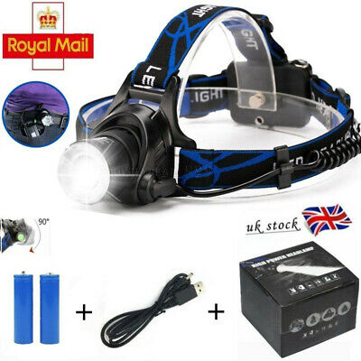 NEW Head Light Torch Lamp Headlamp Cree LED Rechargeable Flashlight 6000LM Gift
