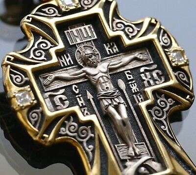 St Nicholas Patron Big Russian Orthodox Cross Pendant Silver 925+999 Gold New