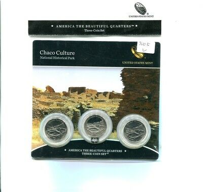 2012 P D S Chaco Culture  National Park 3 Coin Quarter Set Bu + Proof N82