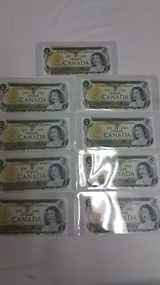 9 consecutive 1973 CANADA  1 DOLLAR BILLS NOTES NICE CRISP UNC prefix ALN
