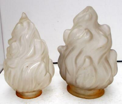Two Vintage French Shabby Chic Art Deco Flame Glass Lampshades Lightshades