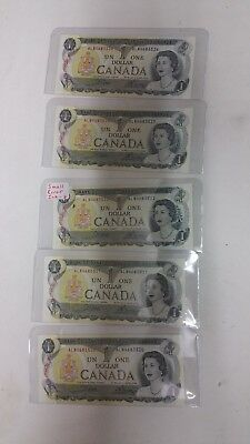 5 consecutive 1973 CANADA  1 DOLLAR BILLS NOTES NICE CRISP UNC prefix ALN