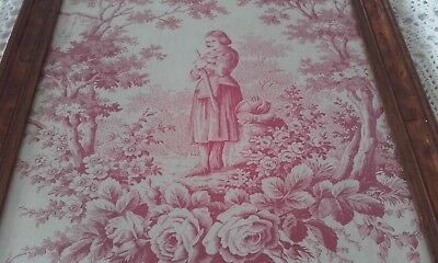 Antique French Art / Toile de Jouy Fabric Picture Joan of Arc ~ Textiles Roses