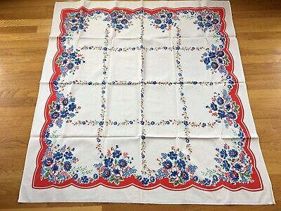 NOS Vtg Tablecloth Red White Blue Floral green leaves Wilendur weight 46 x 50