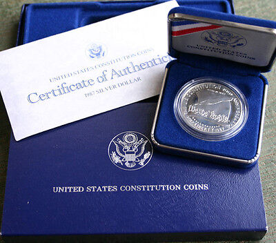 1987 US Mint Constitution Proof Silver Dollar Commemorative $1 Coin Box and COA