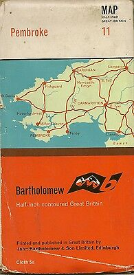 Bartholomews half-inch Map No.11 PEMBROKE - Cloth - 1963
