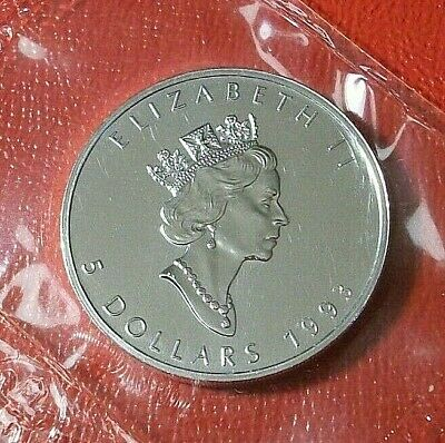1993  $5 Silver Canadian Maple Leaf 1 oz  Uncirculated  RCM Sealed  Better Date