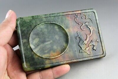 4.8'' China old green jade,Chinese hand-carved dragon jade Ink Stone 0488