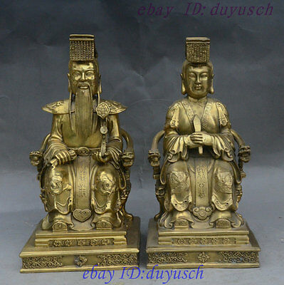 """13"""" China Brass Jade Emperor Queen Mother immortal Sit Dragon Chair Statue Pair"""