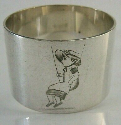 BEAUTIFUL SILVER PLATE NAPKIN RING KATE GREENAWAY DESIGN c1880-1890 ENGLISH