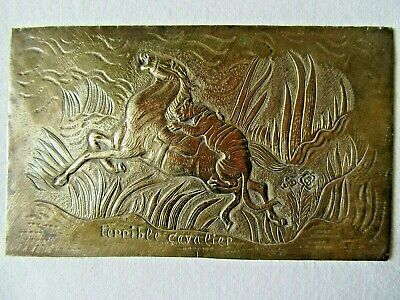 Beautiful Little Antique Bronze Plaque Tiger And Horse