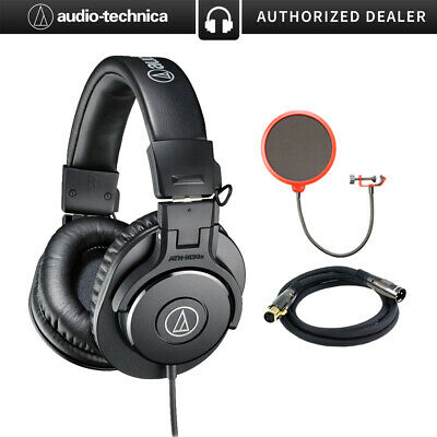 Audio-Technica ATH-M30x Professional Headphones w/ Pop Filter & 10' 16 AWG Cable