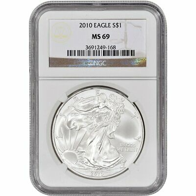 2010 1 oz American Silver Eagle Coin NGC MS69 .999 Pure Brilliant Uncirculated
