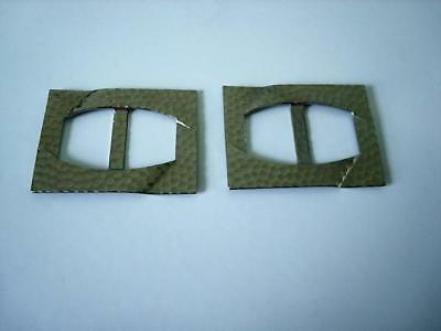 2 Vintage Hammered Silver Tone Metal Shoe Slide Buckles 1 5/8 x 2 1/8 In.