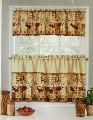 FAT BISTRO CHEF Kitchen Curtains Tier and Valance Set NEW 36 ...