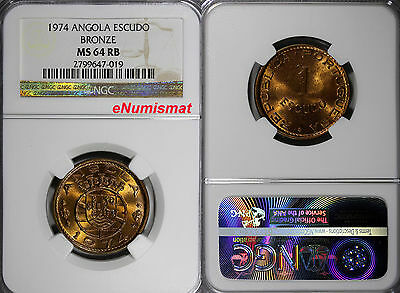 Angola Bronze 1974 1 Escudo NGC MS64 RB 26 mm Last Year Type  KM# 76