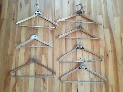 Mixed Lot of 7 Vintage Wooden Clothes Pants Suit Hangers with Advertising