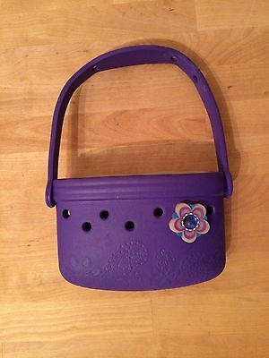 Girl's Croc Purse - Purple with Flower and Paisley Pattern - ADORABLE