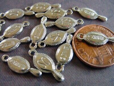 Vintage 6 x 16mm Silver Tone Metal Sarah Coventry Tag Charms Findings 10