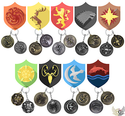 Game of Thrones Metal Key House Keychain Keyring Ring Stark Targaryen Gift