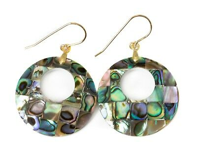 """Abalone Shell Earrings Mosaic Round Peacock MOP Simple 14k Gold Sterling 2"""" Drop"""