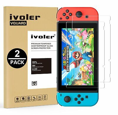 Lot de 2 Film Protection Nintendo Switch !Garantie à Vie!,Verre Trempé