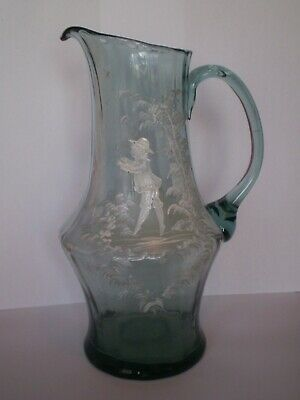 Stunning Vintage Mary Gregory Style Blue Glass, Wine Jug