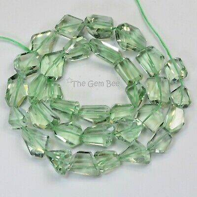 """270.9CT Green Amethyst Prasiolite Faceted Free Form Nuggets Beads 17.5"""" strand"""