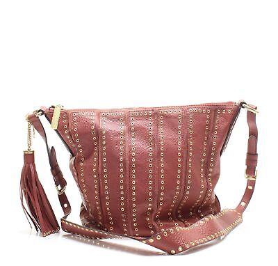 95069204cfa3 Michael Kors Brick Red Gold Brooklyn Large Grommet Leather Feed Bag $558-  #023