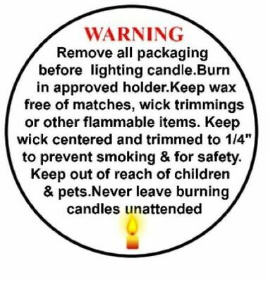 "50/1000 LOTS 1.2"" CANDLE WARNING / CAUTION LABELS for CANDLES ."