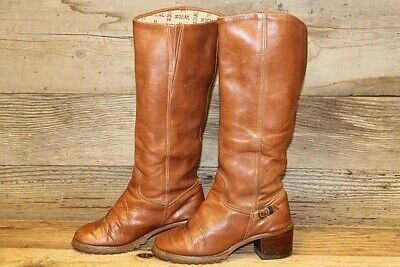 83a5d4b054f64 ZODIAC VTG 80'S Womens Brown Knee High Leather Stacked Heel Riding Boots Sz  6 M
