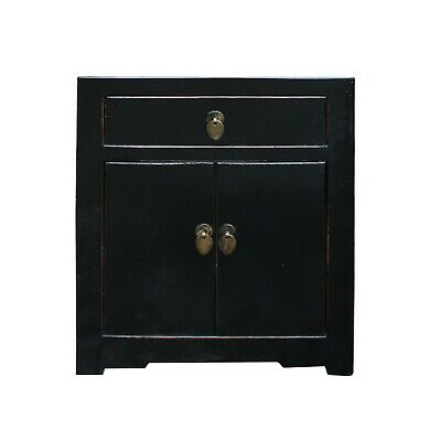 Oriental Distressed Black Lacquer Side End Table Nightstand cs4981