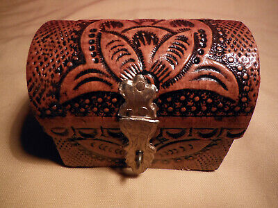 Jewelry/trinket Box ~ Small Treasure Chest Shape ~ Leather Like Carved Design