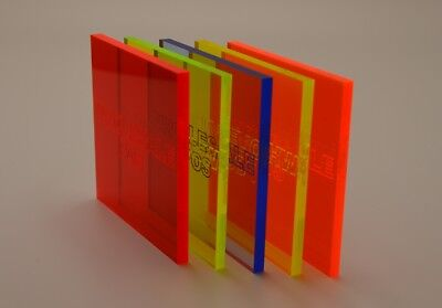 Fluorescent Acrylic Perspex Plastic Sheet 5Mm Thick Blue Orange Yellow Green Red