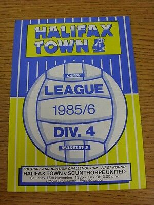 16/11/1985 Halifax Town v Scunthorpe United [FA Cup] (Light Crease, Team Changes