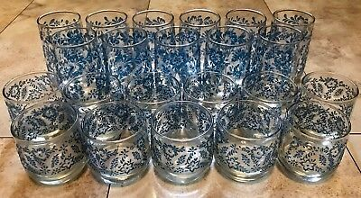 e6b7588b7db8 Set - 22 Clear Glass Tumblers Textured Blue Floral Vintage Drinking Glasses  RARE