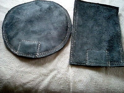 """New Set Two Blue Suede Leather Beater Bag Shot/Sand Dollies/6""""X4"""" & 6"""" Wd Round"""
