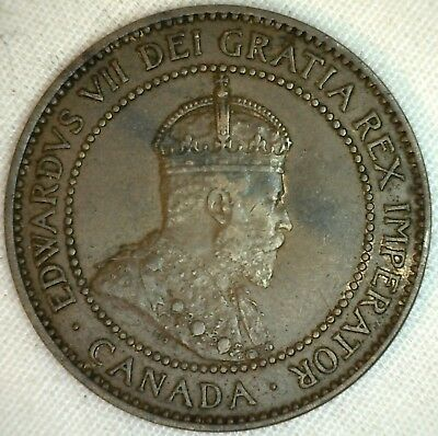 1909 Copper Canadian Large Cent Coin 1-Cent Canada XF K6