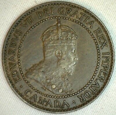 1909 Copper Canadian Large Cent Coin 1-Cent Canada EF K1