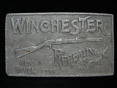 OG01125 VINTAGE 1970s **WINCHESTER REPEATING ARMS** PEWTER BELT BUCKLE
