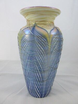 """Rare Durand Pulled Feather Threaded Art Glass Vase Spider Webbing 9"""" Unsigned"""