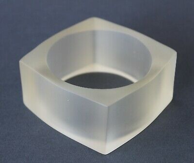 Vintage Retro 60s/70s CLEAR FROSTED LUCITE/PLASTIC BANGLE Bracelet CHUNKY