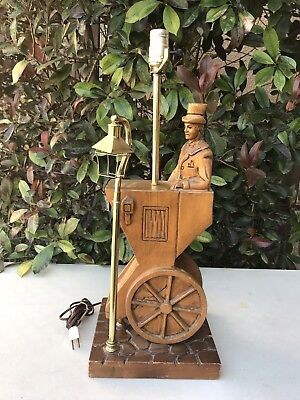Vintage Antique Hand Carved Wood Man In Top Hat In Cart W/ Street Light Lamp