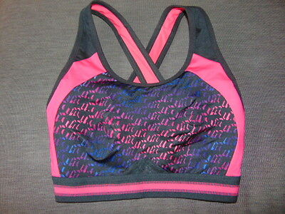 M&S 'Infin8' Non-Wired Non-Padded High Impact Sports Bra 32D Black/Pink MixBNWoT