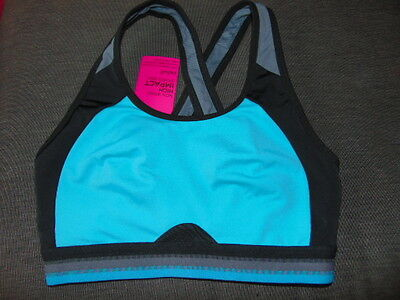 M/&S Non-Wired Non-Padded High Impact Sports Bra 36B Black//Purple Mix BNWT