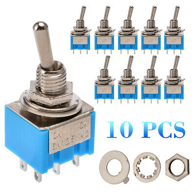 10Pcs Blue  Miniature Latching Toggle Switch DPDT ON-ON AC 6A/125V 6 Pin MTS-202