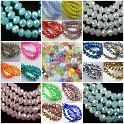 Wholesale Glass Crystal Faceted Rondelle Spacer Loose Beads 3mm+4mm+6mm+8mm Bead