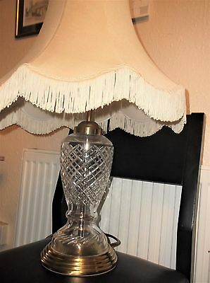 """Large Elegant Cut Glass Table Lamp With Brass Trim Working 15"""" + Shade"""