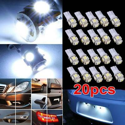 20 x T10 5050 W5W 5 SMD LED Car Side Wedge Tail Light Parking Lamp Bulb White AO
